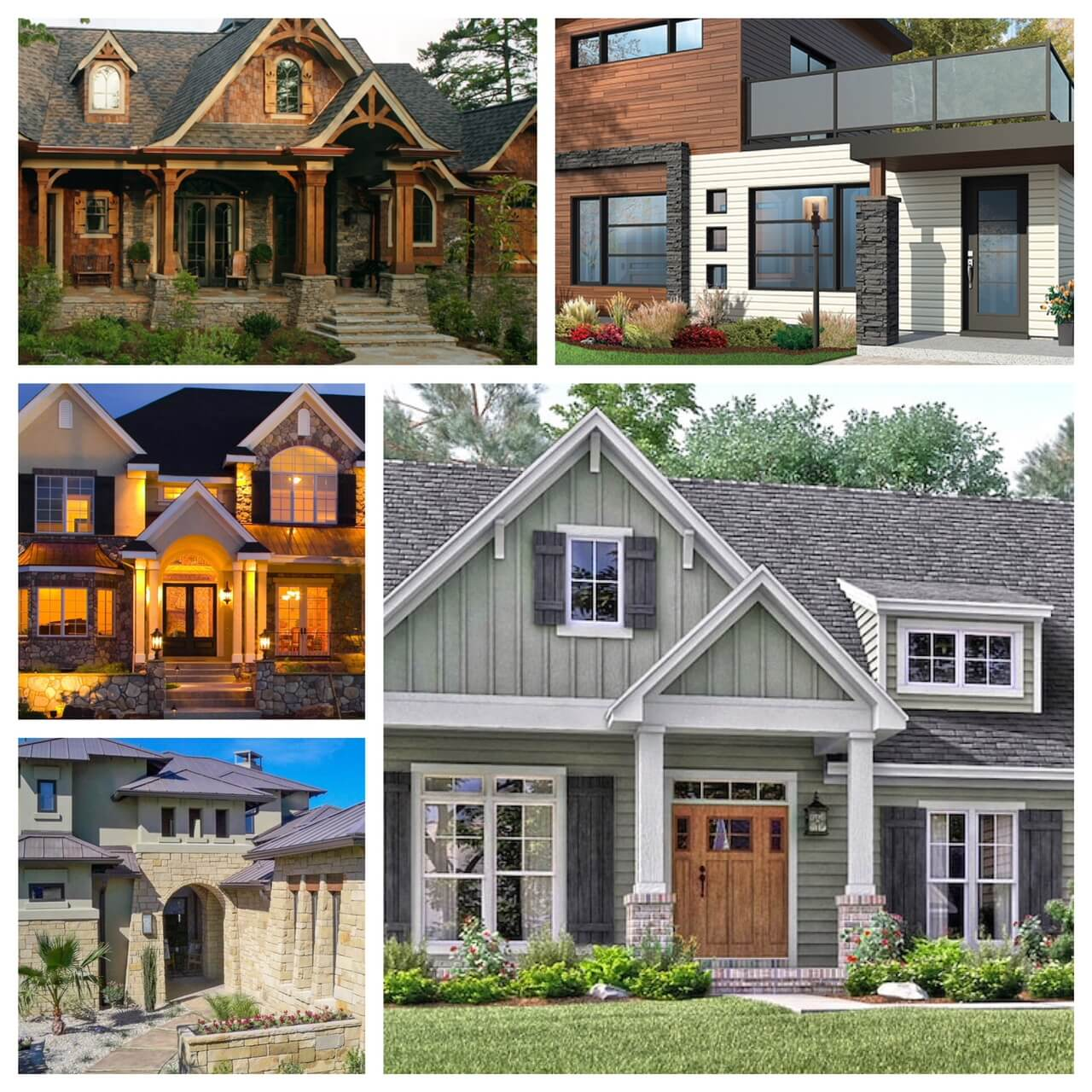Collage of houses with different architectural styles from Modern to Craftsman to Country and Southwest.