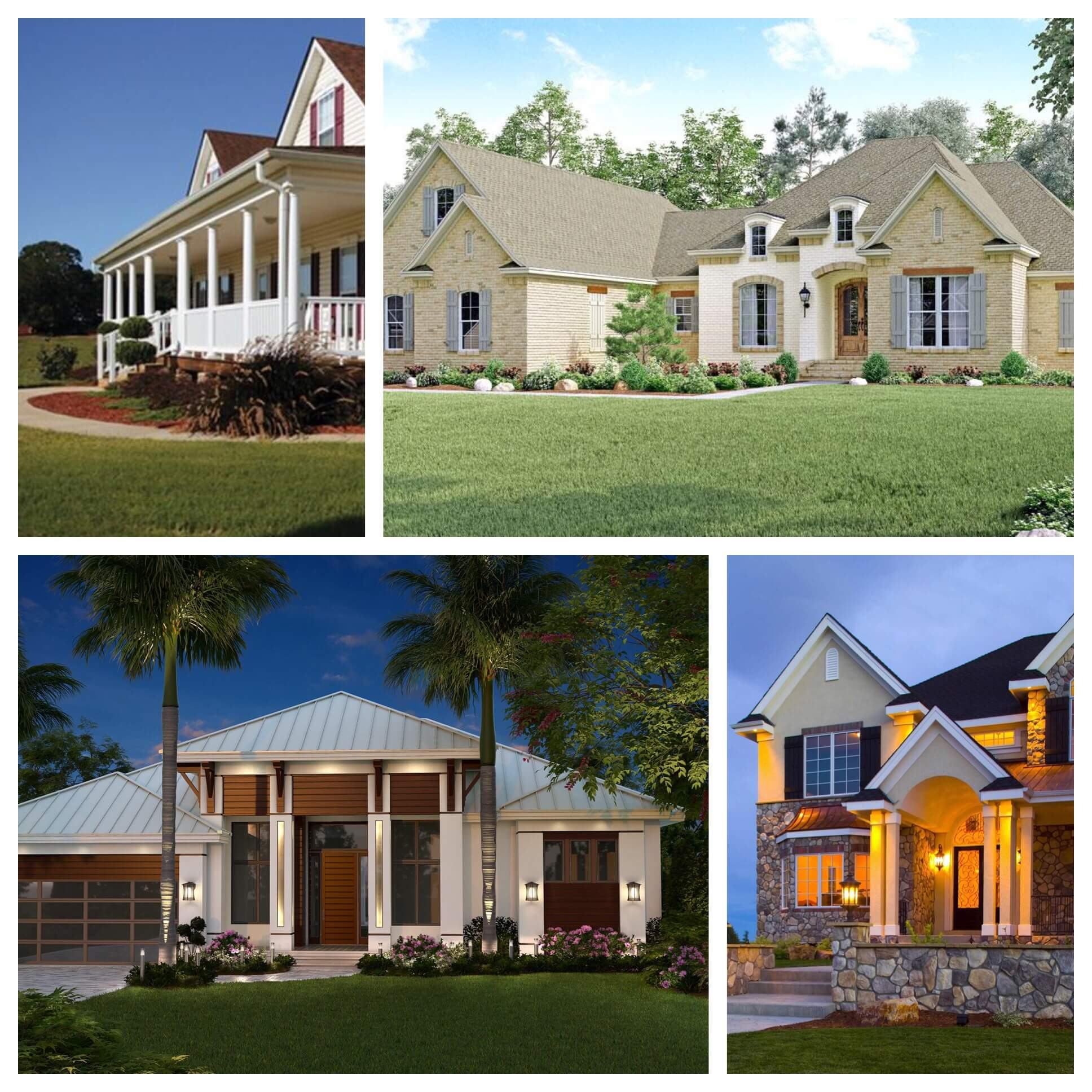 Examples of the many architectural styles for house plans available at The Plan Collection.