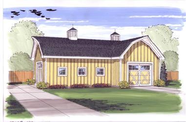 0-Bedroom, 832 Sq Ft Garage House Plan - 100-1001 - Front Exterior