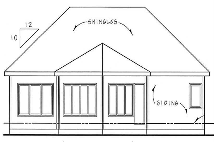 Home Plan Rear Elevation of this 2-Bedroom,1512 Sq Ft Plan -100-1009