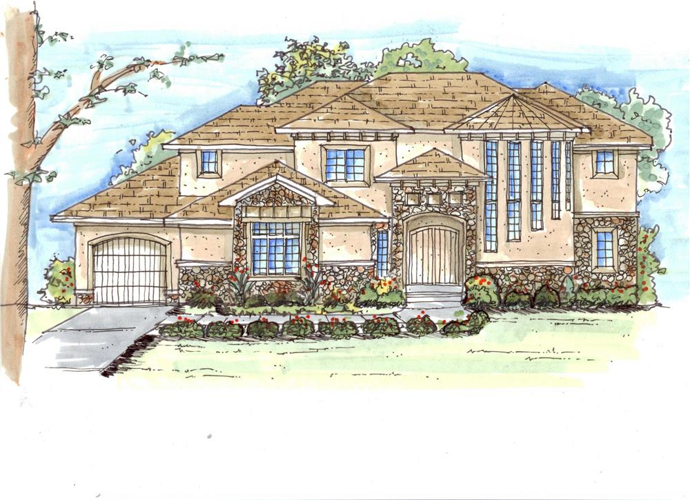 This is an artist's colored rendering of these Mediterranean House Plans.