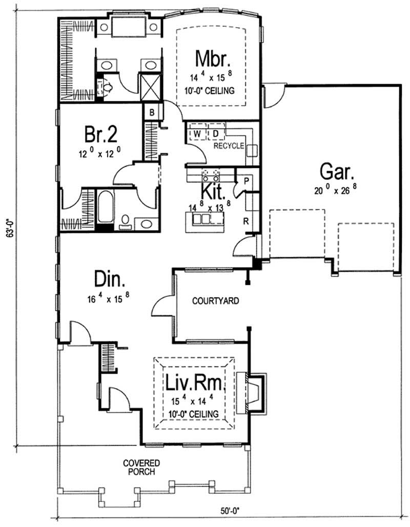 Mediterranean ranch home with 2 bedrooms 1586 sq ft for 100 sq ft bedroom