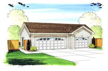 0-Bedroom, 831 Sq Ft Garage House Plan - 100-1015 - Front Exterior