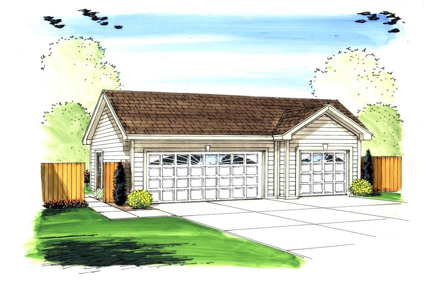 This is the front elevation for these Garage Plans