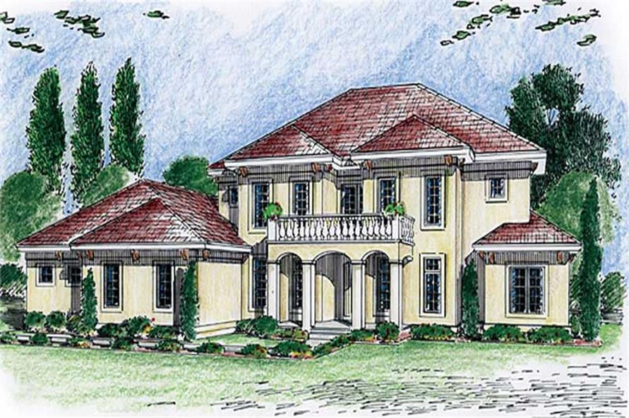 4-Bedroom, 3365 Sq Ft Mediterranean House Plan - 100-1020 - Front Exterior