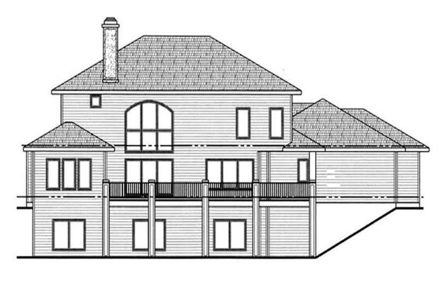Home Plan Rear Elevation of this 4-Bedroom,3365 Sq Ft Plan -100-1020