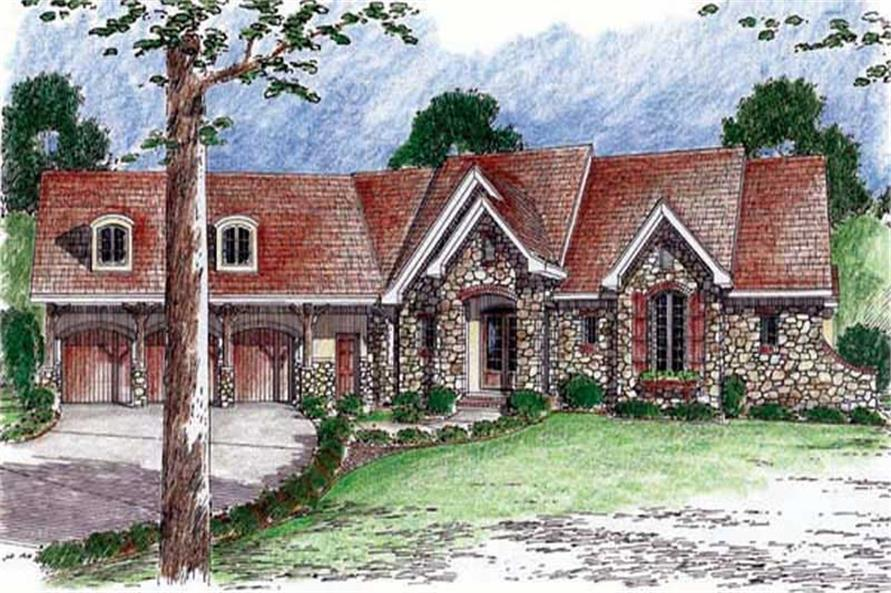 2-Bedroom, 3887 Sq Ft Country House Plan - 100-1022 - Front Exterior