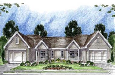 3-Bedroom, 2762 Sq Ft Multi-Unit House Plan - 100-1024 - Front Exterior