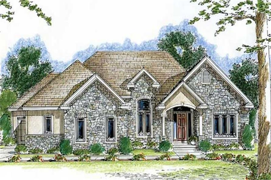 2-Bedroom, 2109 Sq Ft European House Plan - 100-1031 - Front Exterior