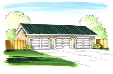 0-Bedroom, 1281 Sq Ft Garage Home Plan - 100-1033 - Main Exterior