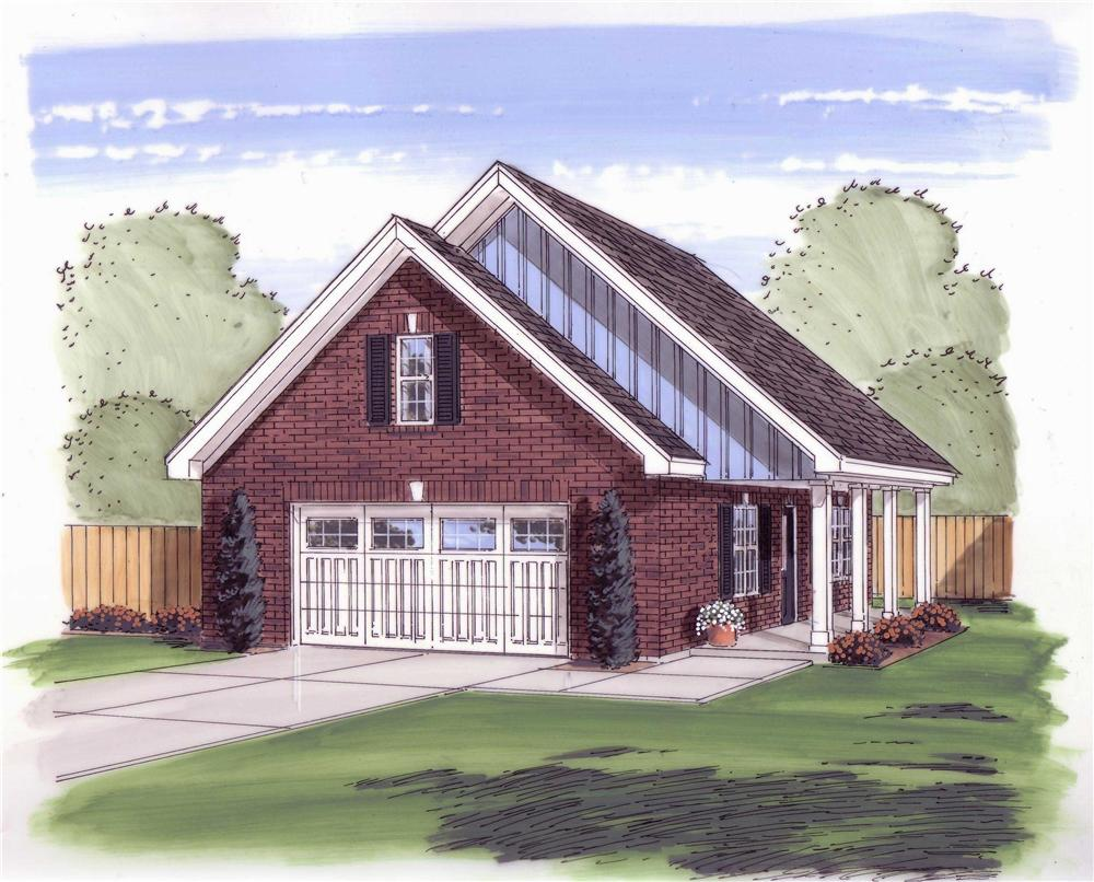 This is the front rendering for these Garage Plans.