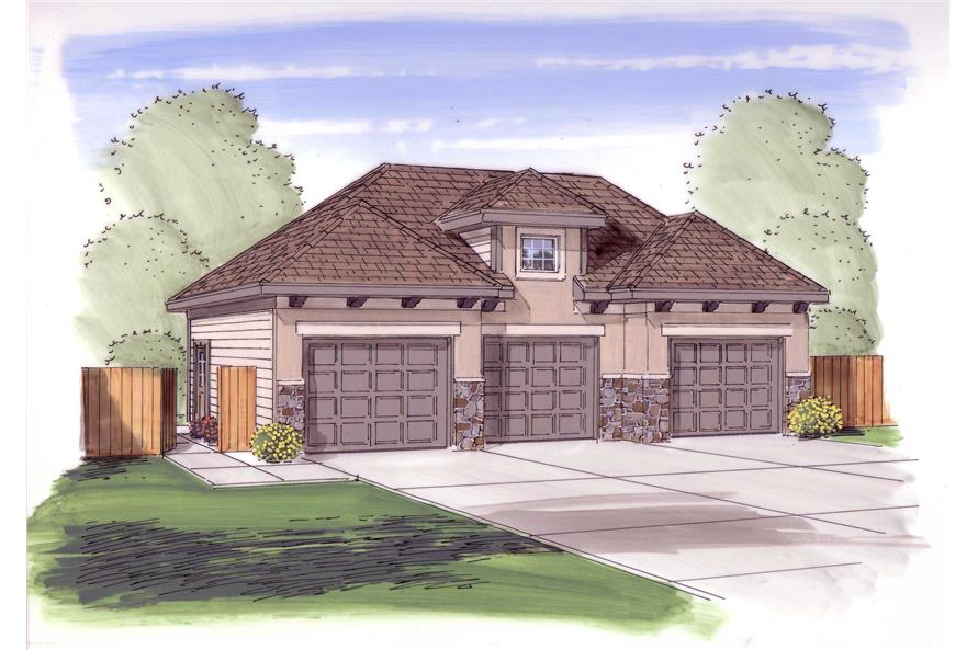 This is the front elevation for these Tuscan Garage Plans.
