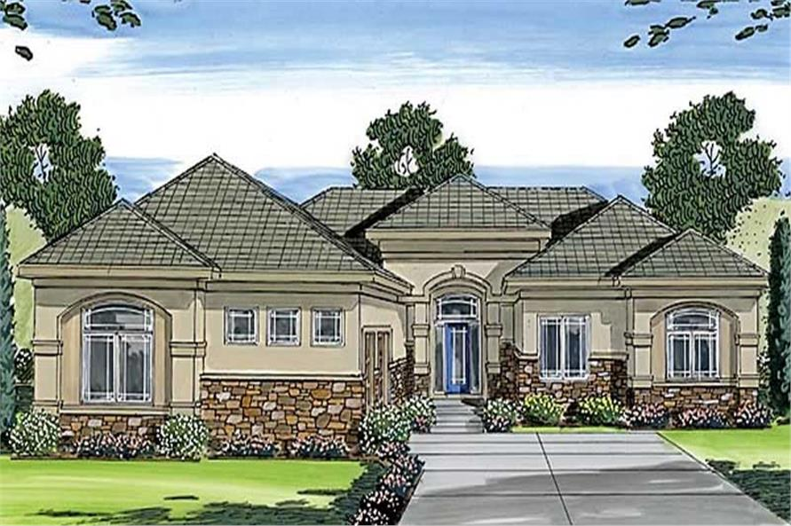 Mediterranean Ranch Home with 3 Bedrooms 2165 Sq Ft House Plan