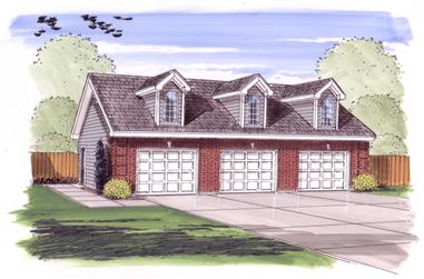 0-Bedroom, 1014 Sq Ft Garage House Plan - 100-1044 - Front Exterior