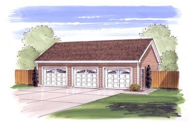 0-Bedroom, 1050 Sq Ft Garage Home Plan - 100-1045 - Main Exterior
