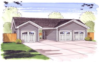 3-Car. 851 Sq Ft Garage Home Plan - 100-1047 - Main Exterior