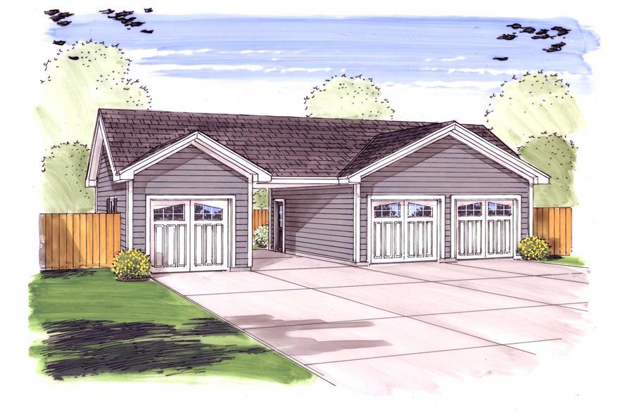 0-Bedroom, 851 Sq Ft Garage Home Plan - 100-1047 - Main Exterior