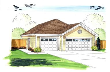 0-Bedroom, 1256 Sq Ft Garage Home Plan - 100-1048 - Main Exterior