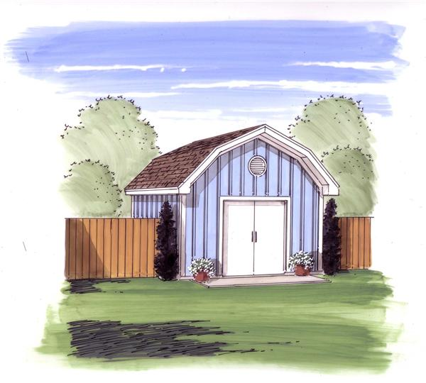This is the front elevation of these Storage Shed Plans.