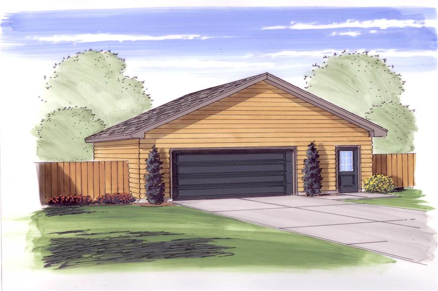 This is an artist's painting showing the front elevation for these log garage plans.