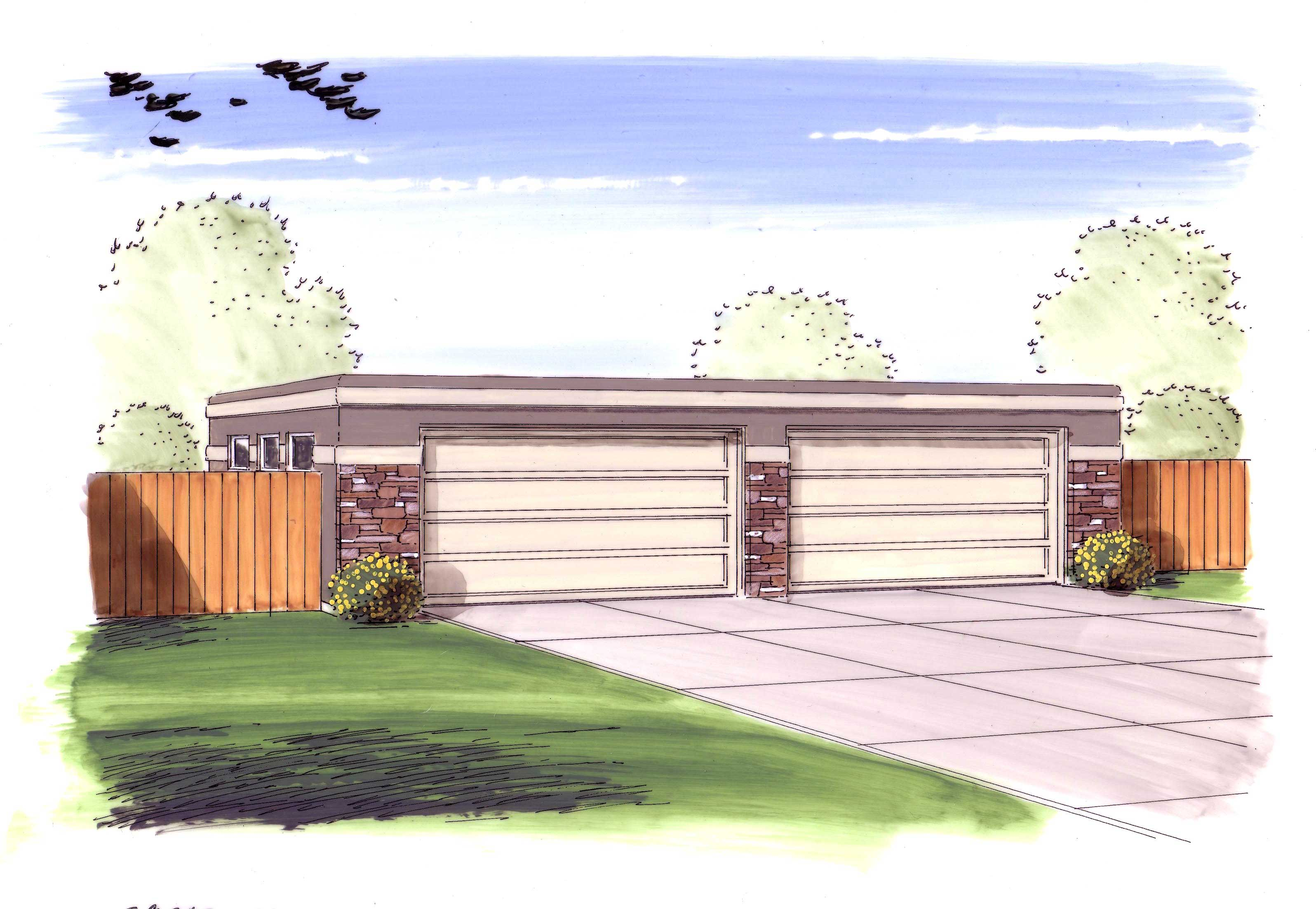 Garage style garage with 3 car 0 bedroom 1040 sq ft for Flat roof garage designs