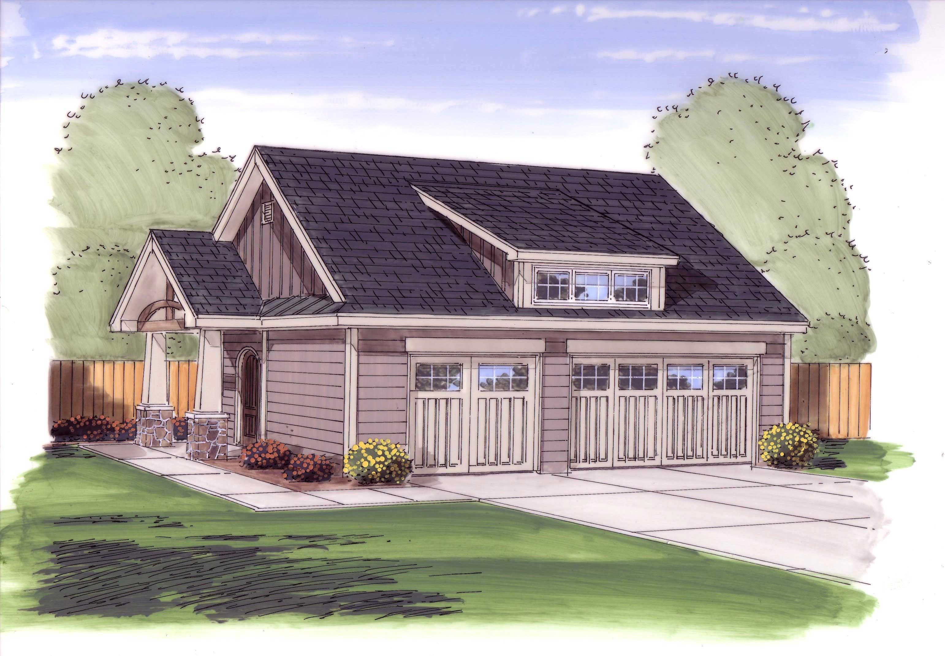 Garage with 3 car 770 sq ft plan 100 1053 for 770 plan