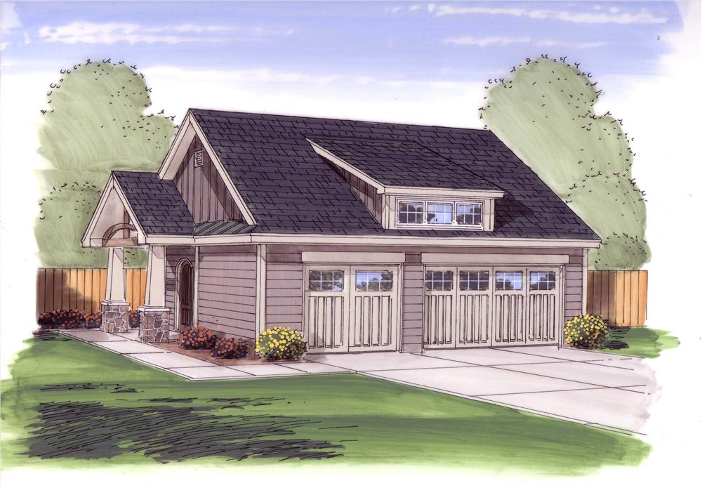 Color rendering of Garage plan (ThePlanCollection: House Plan #100-1053)