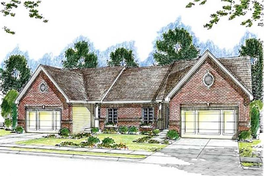 3-Bedroom, 2824 Total Sq Ft Multi-Unit Home Plan - 100-1054 - Main Exterior