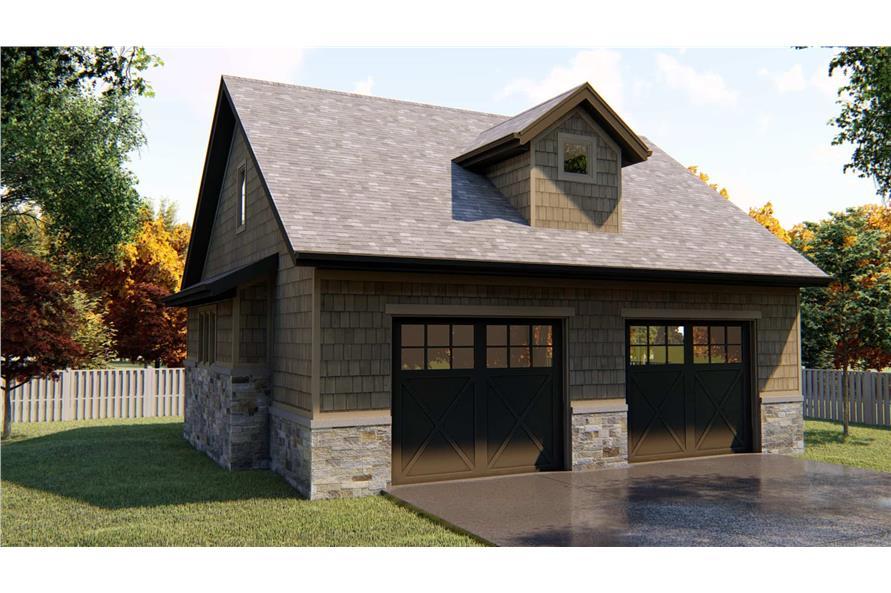 2-Car Garage with 556 Sq Ft Studio Apartment Plan - 100-1055 - Main Exterior