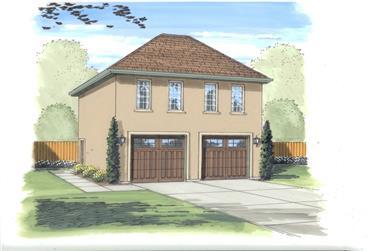 1-Bedroom, 689 Sq Ft Garage w/Apartments Home Plan - 100-1056 - Main Exterior