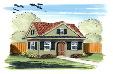 This is a colorful rendering of these Garden Shed Blueprints.