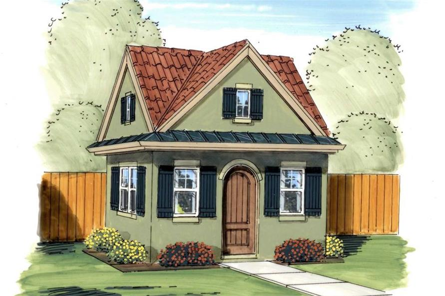 This is a colorful rendering of Garden Shed Blueprints.