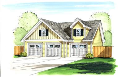 0-Bedroom, 1000 Sq Ft Garage House Plan - 100-1059 - Front Exterior