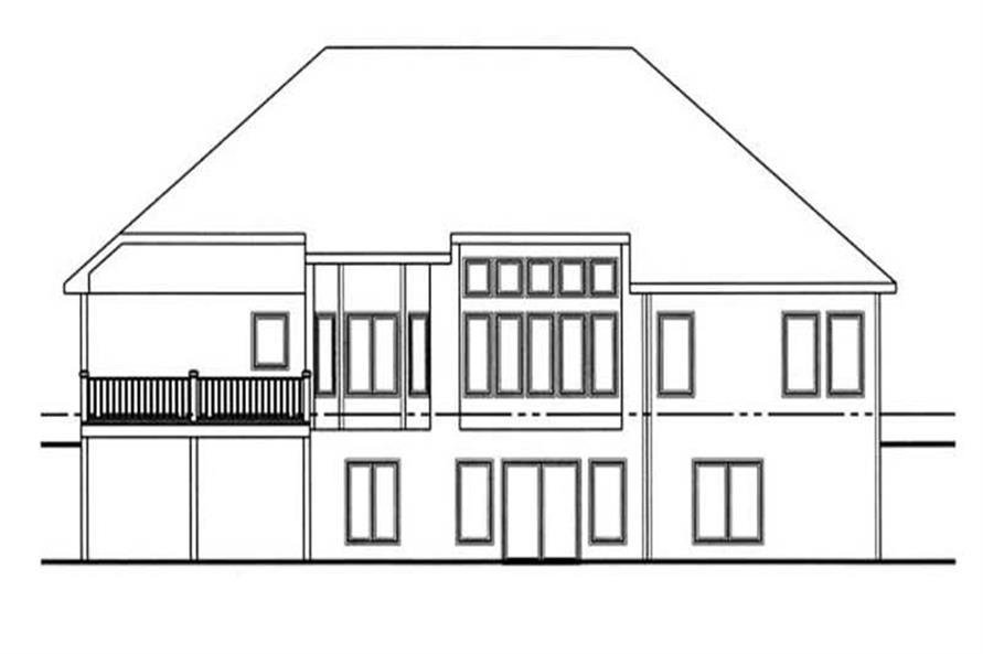Home Plan Rear Elevation of this 1-Bedroom,1850 Sq Ft Plan -100-1061
