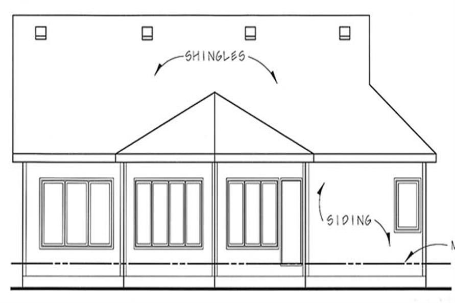 Home Plan Rear Elevation of this 2-Bedroom,1502 Sq Ft Plan -100-1062