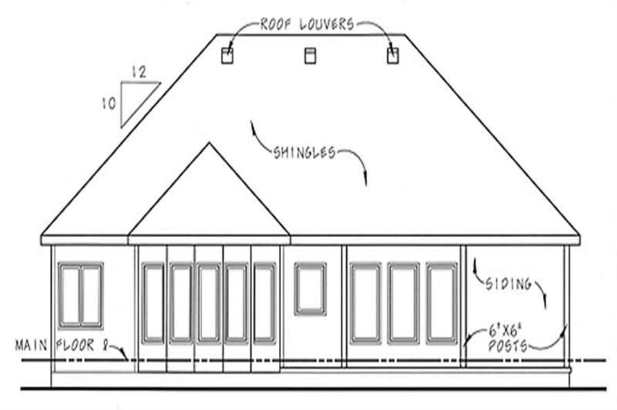 Home Plan Rear Elevation of this 2-Bedroom,1685 Sq Ft Plan -100-1064