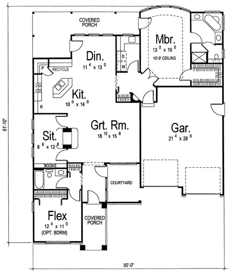 Bungalow home with 2 bedrooms 1685 sq ft floor plan for 100 sq ft house plans