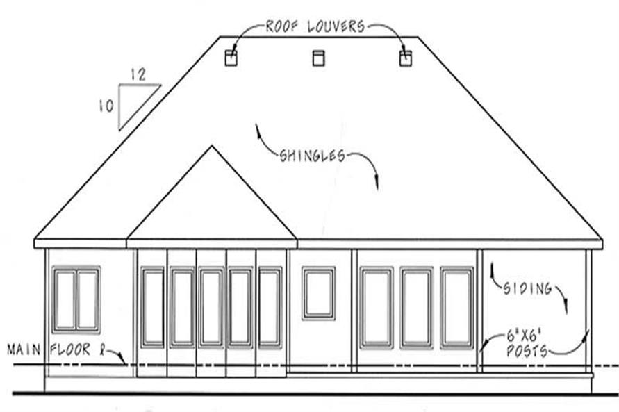 Home Plan Rear Elevation of this 2-Bedroom,1685 Sq Ft Plan -100-1069