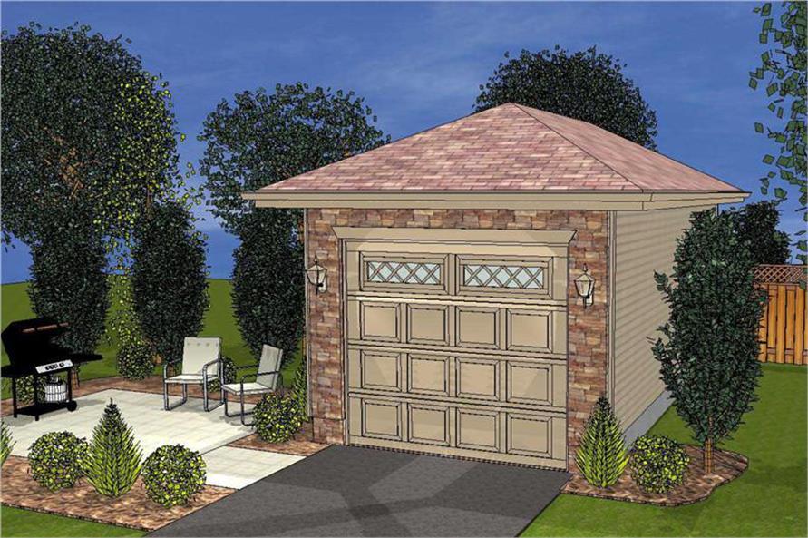Artist's rendering of Garage plan (ThePlanCollection: House Plan #100-1075)