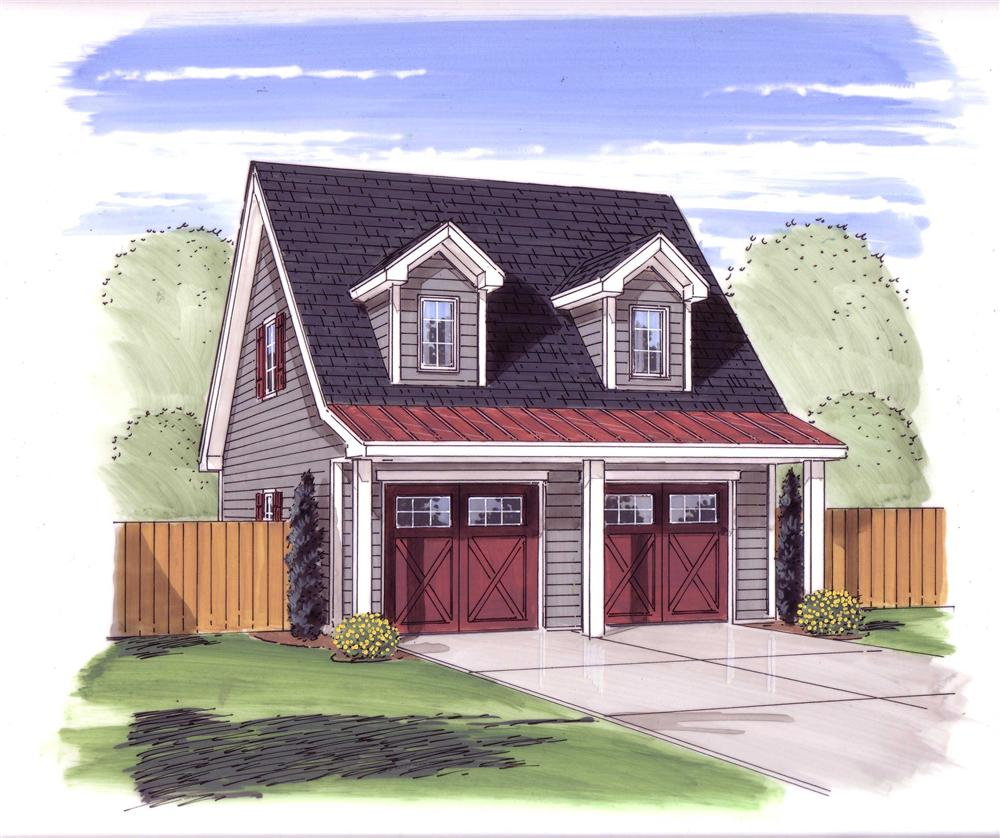 Front elevation of Garage w/Apartments home (ThePlanCollection: House Plan #100-1077)
