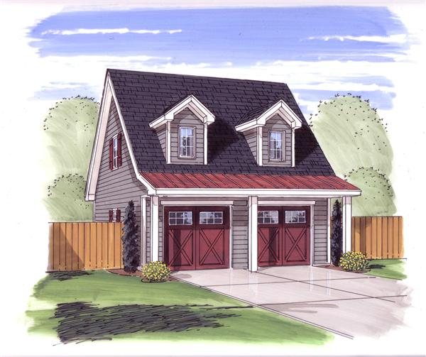 This is a colorful rendering of this set of Garage Plans.