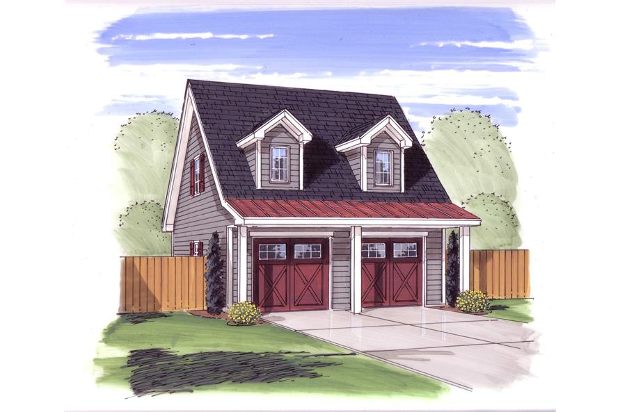 Garage w/Apartments with 2-Car, 0 Bedrm, 700 Sq Ft | Plan #100-1077