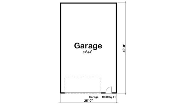 Garage style garage with 2 car 0 bedroom 1000 sq ft floor plan 100 1080 Story floor plans with garage collection