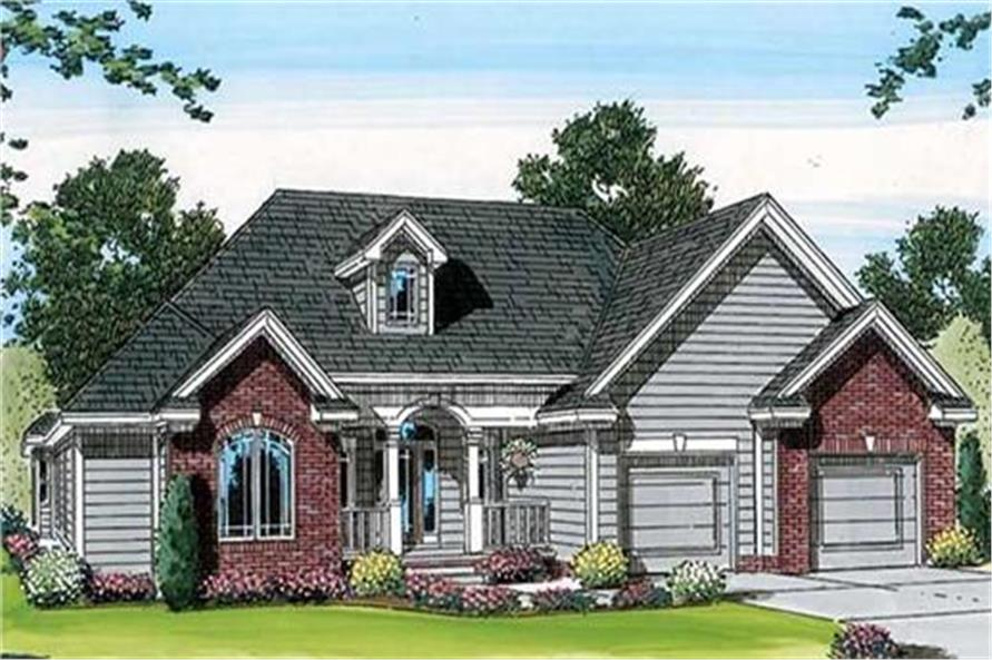 100-1084 house plan front rendering