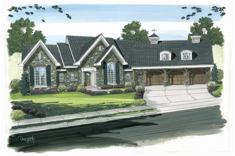 This is a colored rendering of these Traditional Home Plans.