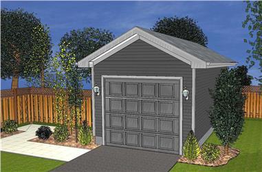 1-Car 288 Sq Ft Garage Plan - 100-1090 - Main Exterior