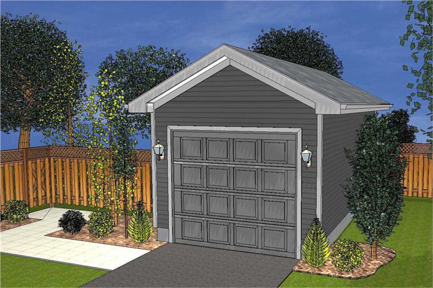 Artist's rendering of Garage Plan #100-1090.