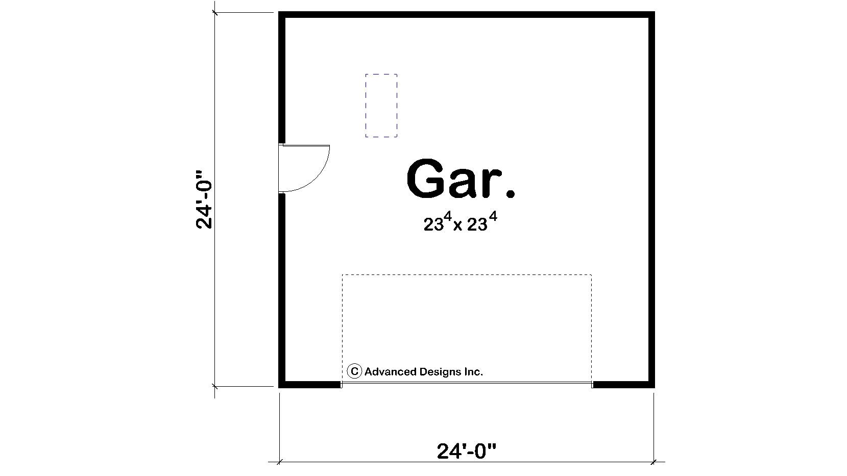 Garage style garage with 1 car 0 bedroom 576 sq ft for 576 sq ft floor plan