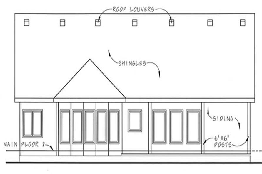Home Plan Rear Elevation of this 2-Bedroom,1685 Sq Ft Plan -100-1094
