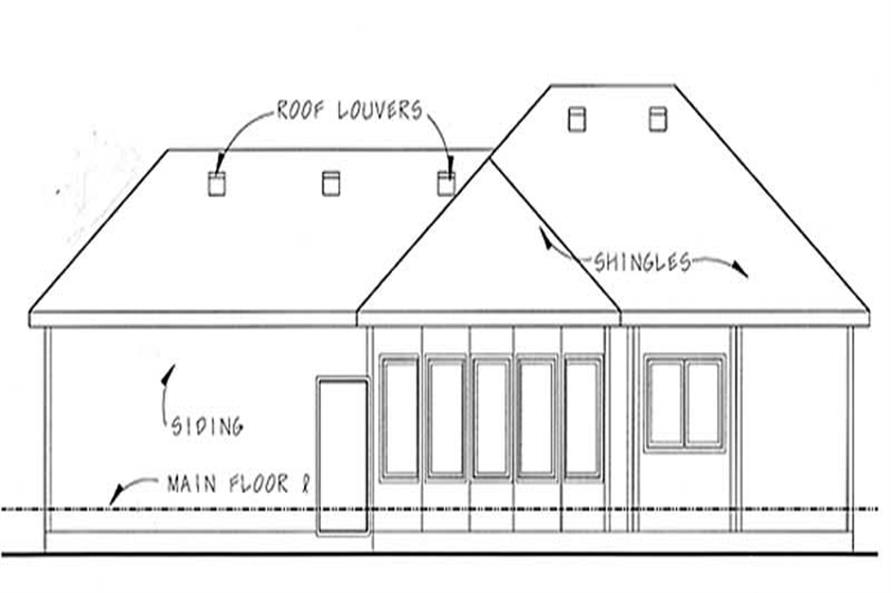 Home Plan Rear Elevation of this 2-Bedroom,1586 Sq Ft Plan -100-1098